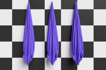 towels: Three Blue Hand Towels On An Checkerboard Pattern Wall, 3d illustration