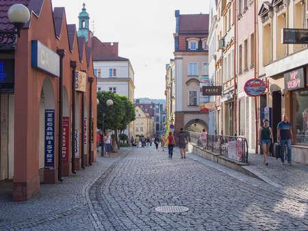 gora: JELENIA GORA, POLAND - AUGUST 13, 2016: Tourists Walking Through Historic Downtown in Jelenia Gora, Poland Editorial