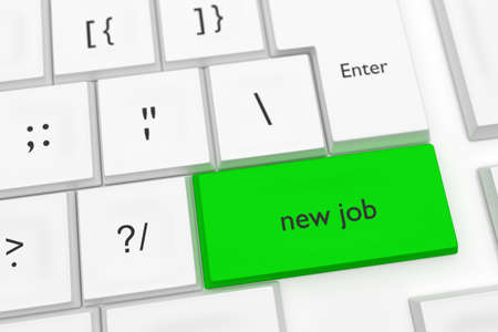 job offers: Computer Keyboard With The Words New Job On A Green Key As A Hot Button, 3d illustration