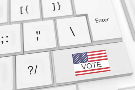 vote button: Computer Keyboard With US Flag Vote Button, 3d illustration Stock Photo