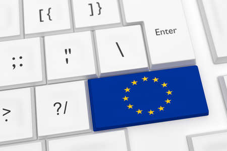 Computer Keyboard With An EU Flag Key As A Hot Button, 3d illustration Stock Photo