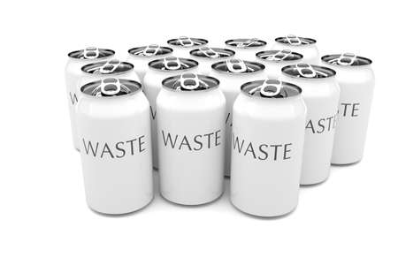 waste 3d: Waste: White Aluminum Beverage Cans Isolated On A White Background, 3d illustration