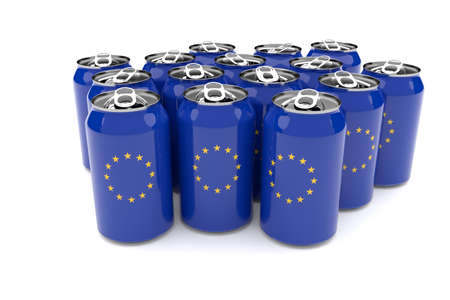waste 3d: Packaging Waste In The European Union: EU flag Aluminum Cans Isolated On A White Background, 3d illustration