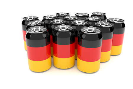 waste 3d: Packaging Waste In Germany: German Flag Aluminum Cans Isolated On A White Background, 3d illustration