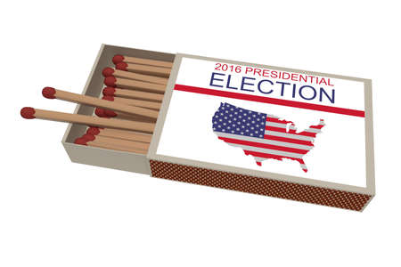 matchbox: US Election 2016: Matchbox With Matches Isolated On A White Background, 3d illustration