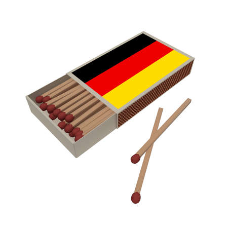 matchbox: Germany Flag Matchbox With Matches Isolated On A White Background, 3d illustration