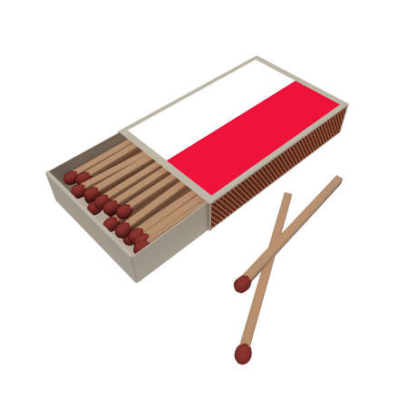matchbox: Poland Flag Matchbox With Matches Isolated On A White Background, 3d illustration Stock Photo