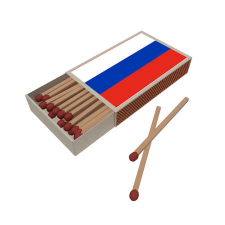 matchbox: Russia Flag Matchbox With Matches Isolated On A White Background, 3d illustration