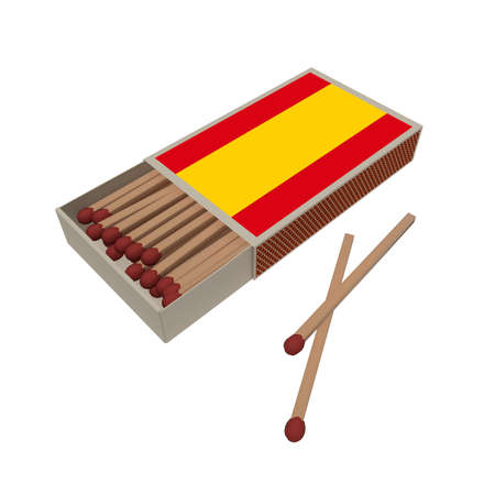 Spain Flag Matchbox With Matches Isolated On A White Background, 3d illustration