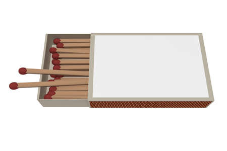matchbox: Matchbox With Matches Isolated On A White Background, 3d illustration Stock Photo
