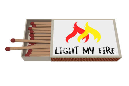 matchbox: Light My Fire: Matchbox Isolated On A White Background, 3d illustration