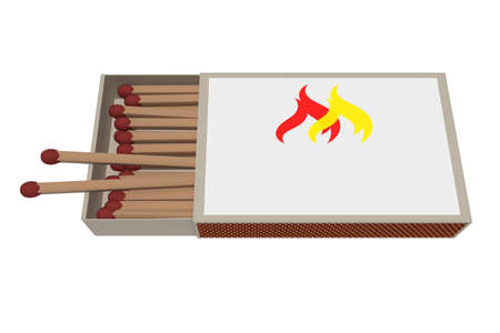 ignition: Matchbox With Matches Isolated On A White Background, 3d illustration Stock Photo