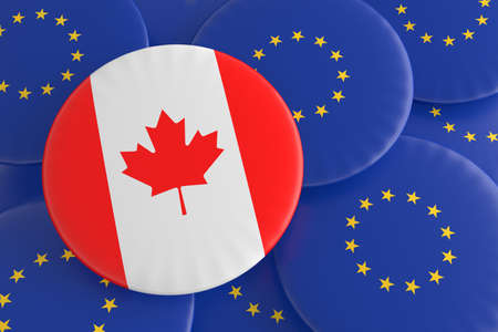 treaty: Partnership Canada EU: Canadian Flag And European Union Flag Badges, 3d illustration