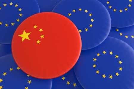 european union flag: Partnership China EU: Chinese Flag And European Union Flag Badges, 3d illustration Stock Photo
