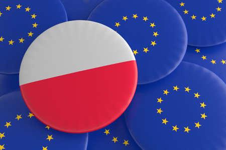polish flag: Poland And The European Union: Polish Flag And EU Flag Badges, 3d illustration Stock Photo