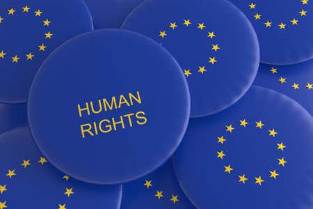 human rights: Human Rights: Pile of EU Flag Badges, 3d illustration