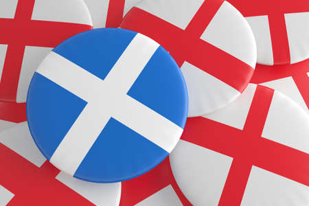 england politics: Independence: Scottish Flag And English Flag Badges, 3d illustration Stock Photo