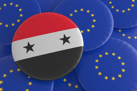 syrian: Syria And The European Union: Syrian Flag And EU Flag Badges, 3d illustration Stock Photo