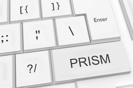 prisma: Programa de Vigilancia de los Estados Unidos: Teclado de ordenador con La Palabra PRISM como bot�n caliente, ilustraci�n 3d