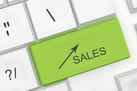 growth hot: Computer Keyboard With The Word Sales And An Arrow On A Green Key As A Hot Button, 3d illustration Stock Photo