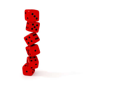 red dice: Stack of red dice on a white background, 3d illustration