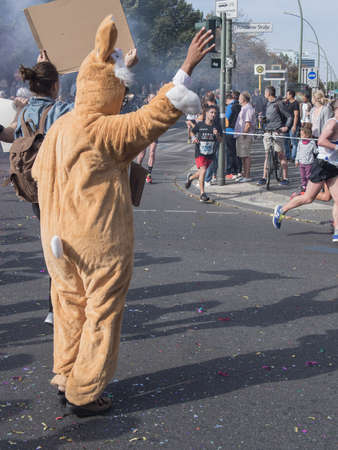 spectator: BERLIN, GERMANY - SEPTEMBER 25, 2016: Spectator With A Rabbit Costume And Runners At Berlin Marathon 2016