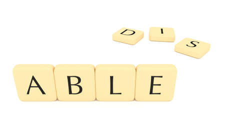 able: Letter tiles: able or disable, 3d illustration isolated on white