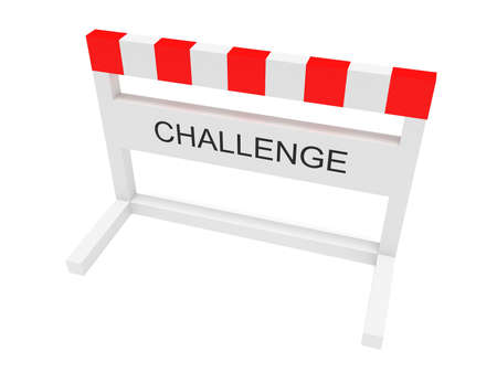 impediment: Hurdle Challenge, 3d illustration on a white background Stock Photo