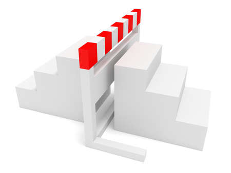 impediment: Hurdle With Stairs On Both Sides, 3d illustration