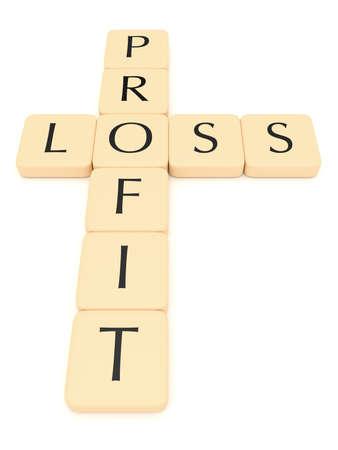 perdidas y ganancias: Letter tiles: profit and loss, 3d illustration