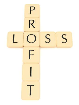 perdidas y ganancias: fichas de letras: pérdidas y ganancias, ilustración 3d