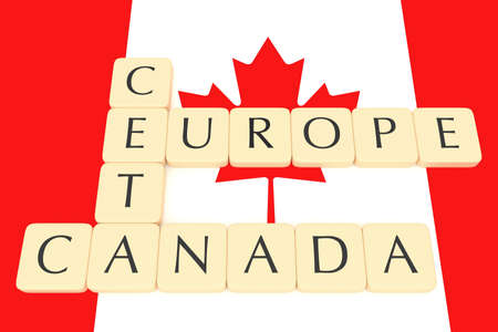 treaty: Letter Tiles: CETA, Europe, Canada With Canadian Flag, 3d illustration Stock Photo