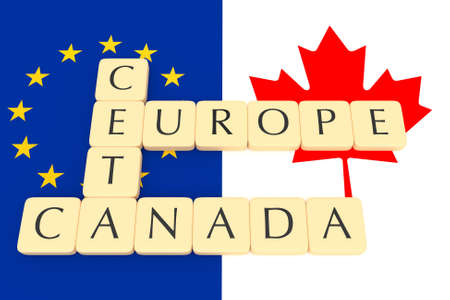 treaty: Letter Tiles: CETA, Europe, Canada With Canadian And EU Flag, 3d illustration