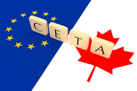 treaty: Letter Tiles: CETA between Canada and the European Union with Canadian and EU flag, 3d illustration