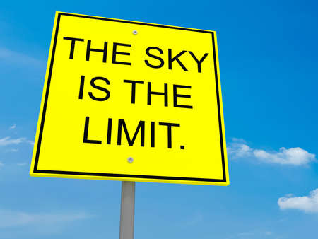 Road Sign The Sky Is The Limit, 3d illustratie Stockfoto