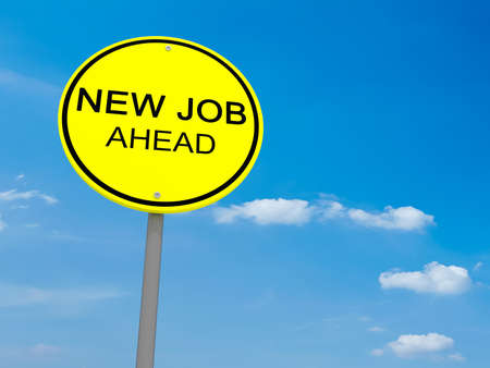 jobless: Round Yellow Road Sign New Job Ahead Against A Cloudy Sky, 3d illustration