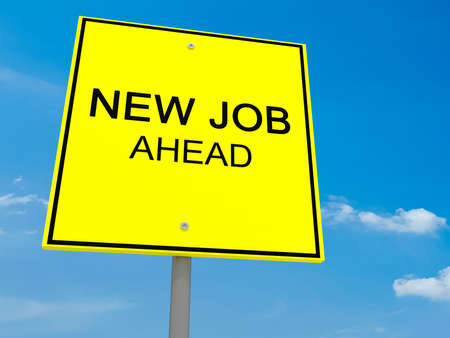 jobless: Yellow Road Sign New Job Ahead Against A Cloudy Sky, 3d illustration Stock Photo