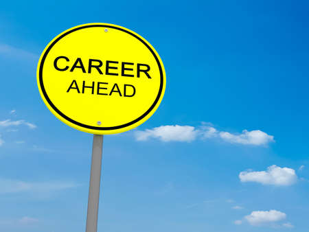 jobless: Round Yellow Road Sign Career Ahead Against A Cloudy Sky, 3d illustration