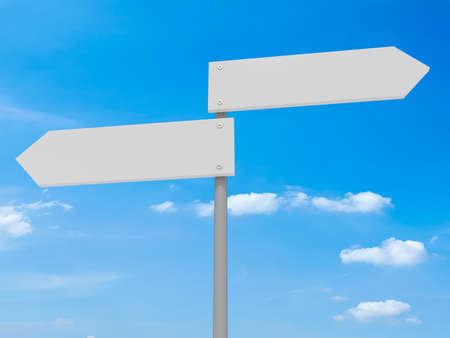 opposite: Blank Road Signs Pointing In Opposite Directions, 3d illustration