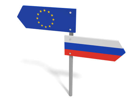disagree: Disagreement: Russia And EU Road Sign Pointing In Opposite Directions, 3d illustration