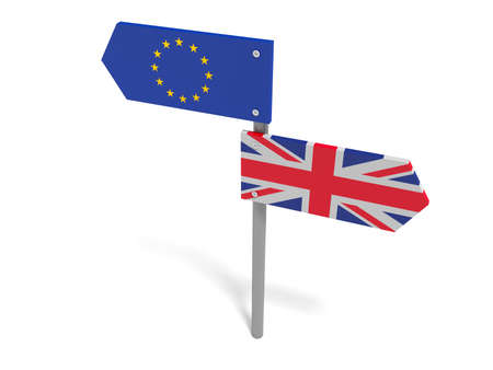 trade union: Brexit: UK And EU Road Sign Pointing In Opposite Directions, 3d illustration Stock Photo