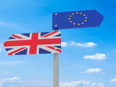 Brexit: UK And EU Road Sign Against A Cloudy Sky Pointing In Opposite Directions, 3d illustration