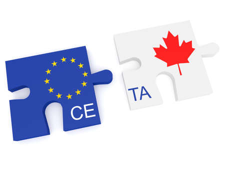 CETA: EU and Canada Flag Puzzle Pieces, 3d illustration