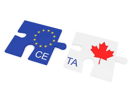 eu: CETA: EU and Canada Flag Puzzle Pieces, 3d illustration