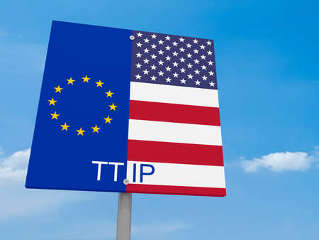 trade union: TTIP: USA And EU Flag Road Sign Against A Cloudy Sky, 3d illustration Stock Photo