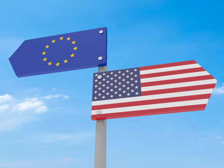 different directions: Disagreement: US And EU Road Sign Pointing In Different Directions Against A Cloudy Sky, 3d illustration Stock Photo