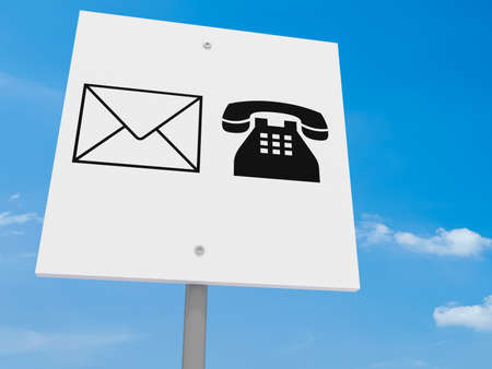 telephone icons: Contact Icons Letter And Telephone Road Sign Against A Cloudy Sky, 3d illustration Stock Photo