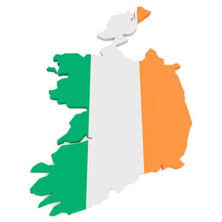 irish map: 3d Illustration of Ireland Flag Map Isolated On White Background