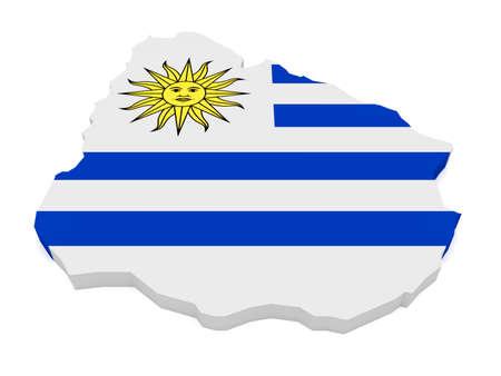 bandera de uruguay: Ilustración 3d de Uruguay mapa con la bandera uruguaya aislado sobre fondo blanco