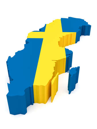 sweden map: 3d Illustration of Sweden Map With Swedish Flag Isolated On White Background